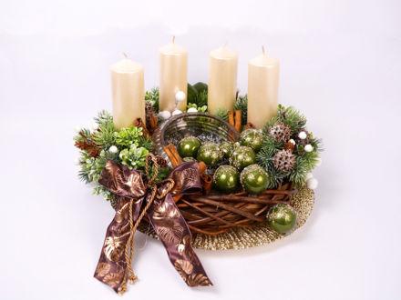Slika Adventski vijenac s bijelim svijećama, 38 cm