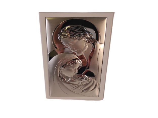 Slika Ikona Sveta obitelj metal/drvo 10 cm x 19 cm