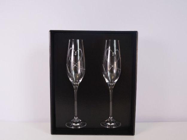 Slika Čaše za šampanjac sa Swarovskim kristalima S/2 staklo 210 ml