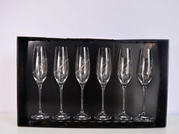 Slika Čaše sa Swarovskim kristalima S/6 staklo 210 ml