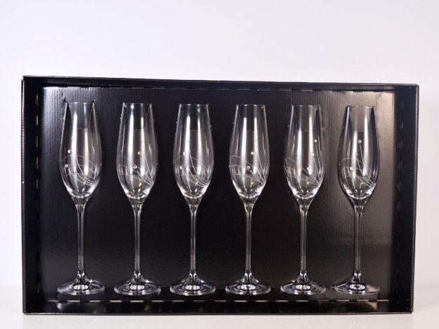 Slika Čaše za šampanjac sa Swarovskim kristalima S/6 staklo 210 ml